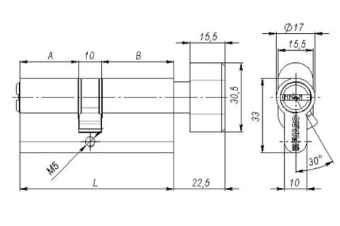 Цилиндрический механизм с вертушкой (личинка)