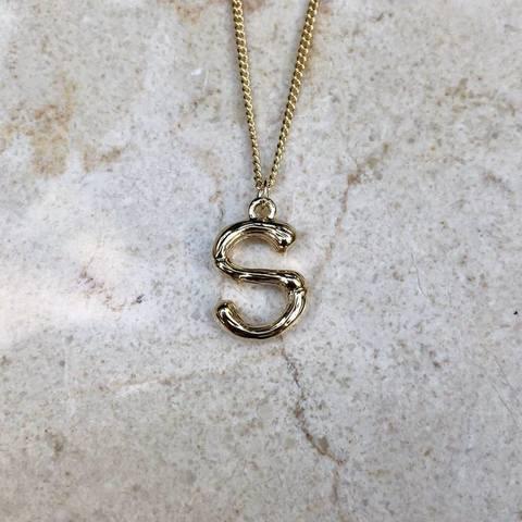 Колье с буквой S на плотной цепочке мини, позолота