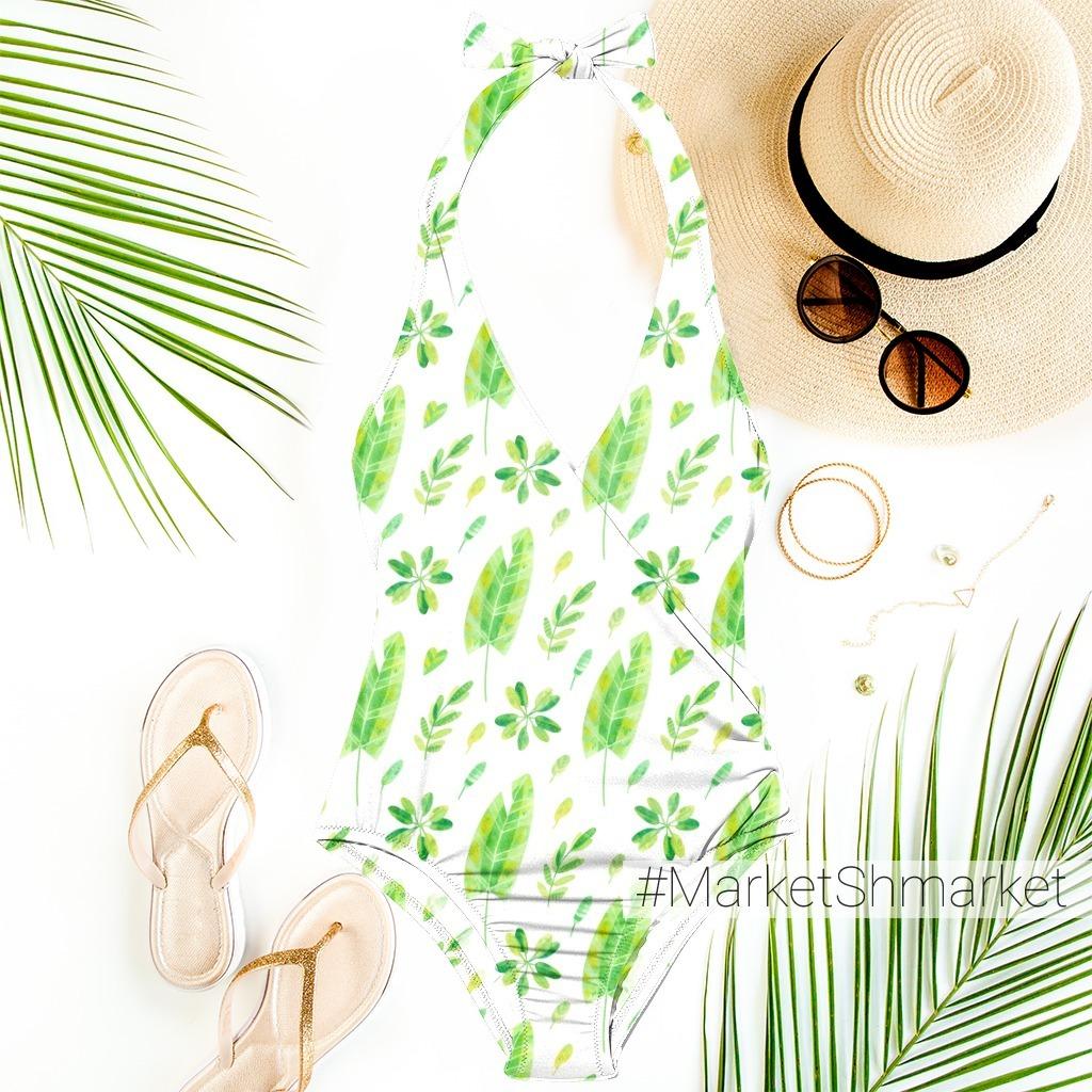 Яркий летний принт с тропическими листьями. Акварельная иллюстрация с экзотическими растениями.