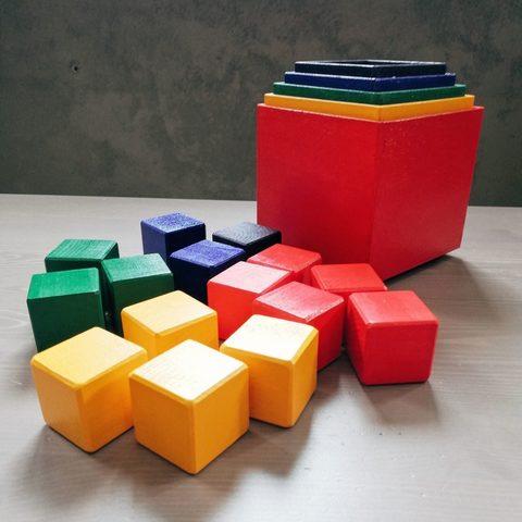 Коробочки радужные 5 в 1, кубики радужные (15 шт)