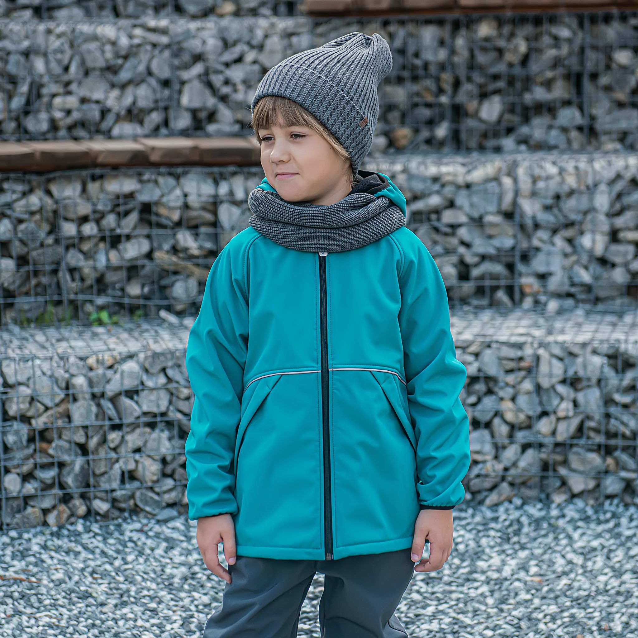 Softshell demi-season jacket for teens - Emerald