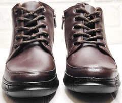 Высокие сникерсы кожаные ботинки женские на шнурках Evromoda 535-2010 S.A. Dark Brown.