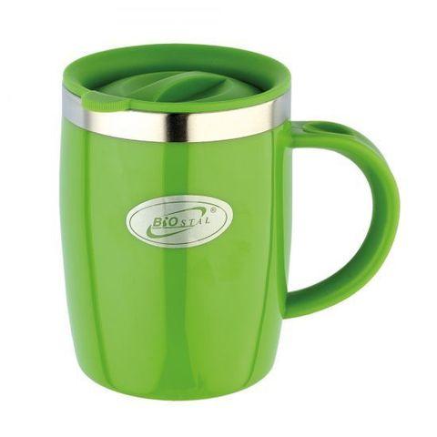 Кружка дутая Biostal Flër (0,4 литра) с крышкой, зеленая