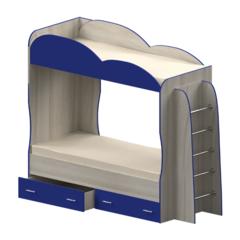 Кровать детская двухъярусная Индиго, синяя