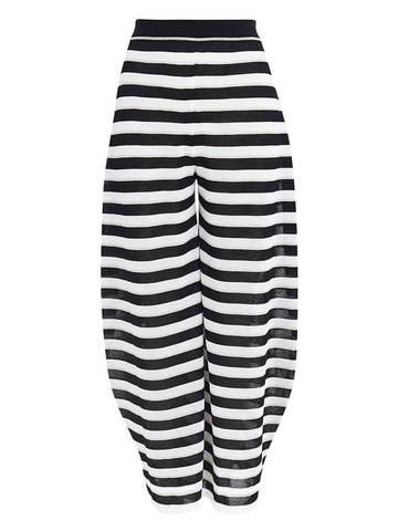 Женские брюки в черно-белую полоску из вискозы - фото 1
