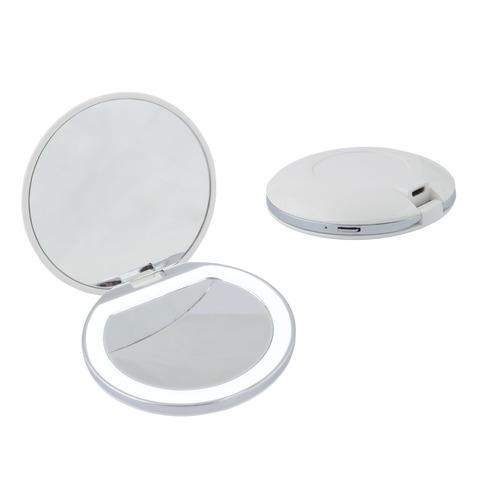 ULK-F72 DIM/RECH WHITE Зеркало карманное с подсветкой (1Х+2Х), с диммером. Серия Backstage. Аккумулятор Li-Ion 300мАч, в/к. Белый. ТМ Uniel