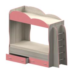 Кровать детская двухъярусная Индиго, светло-розовая