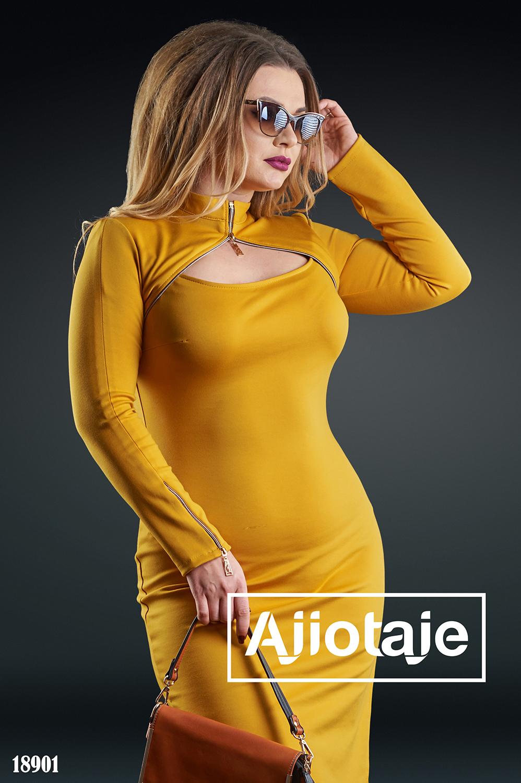 Платье с имитацией болеро горчичного цвета