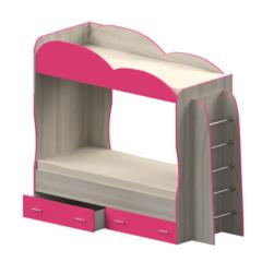 Кровать детская двухъярусная Индиго, темно-розовая