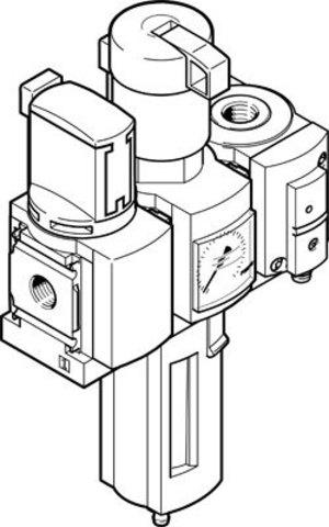Блок подготовки воздуха, комбинация Festo MSB4-1/4:C3:J120:F12-WP