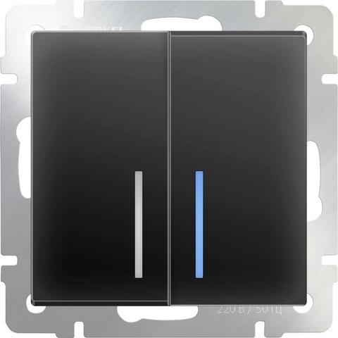 Werkel Выключатель W1122108 (WL08-SW-2G-2W-LED) черный матовый  (2-кл прох с подсв)