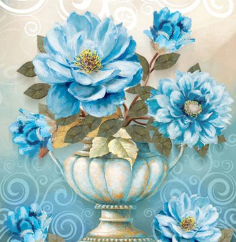 Алмазная Мозаика 5D Голубые цветы в вазе (арт. LT0482)