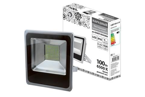 Прожектор светодиодный СДО100-2-Н 100 Вт, 6500 К, серый