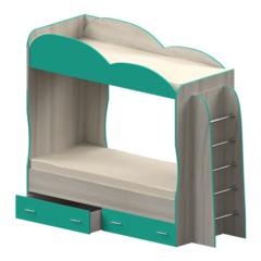 Кровать детская двухъярусная Индиго, бирюзовая