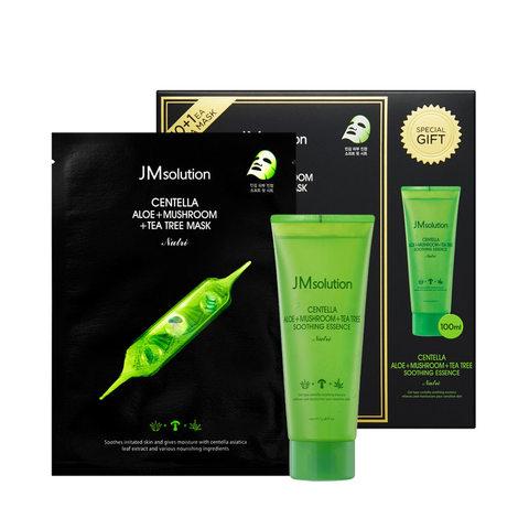 JMsolution Набор для лица JMsolution Centella Alo, Mushroom, Tea Tree Mask and Soothing Essence 11шт*30мл + 100 мл