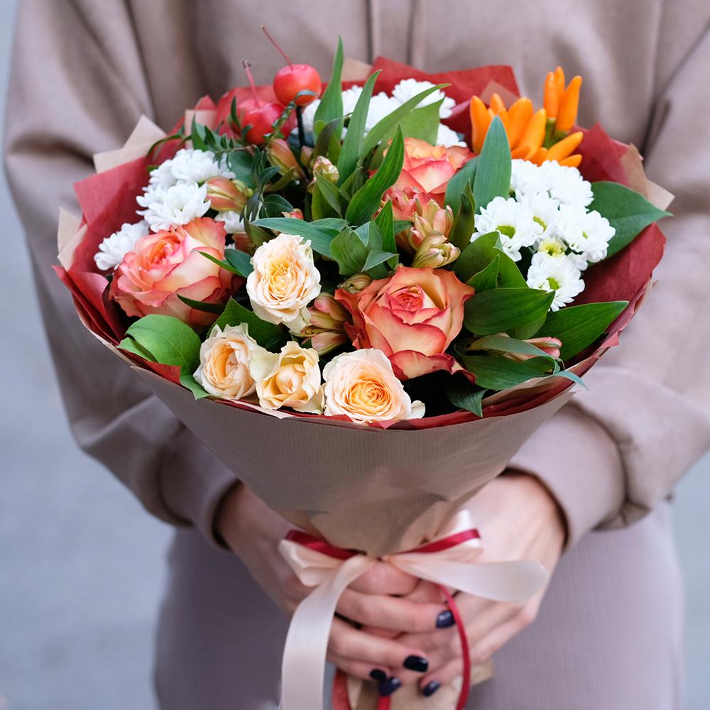 Заказать онлайн осенний букет цветов с перчиком в Перми доставка круглосуточная