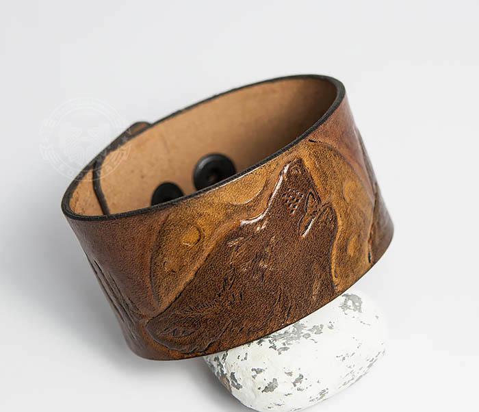 BL460 Мужской браслет «Волк» из натуральной кожи, ручная работа