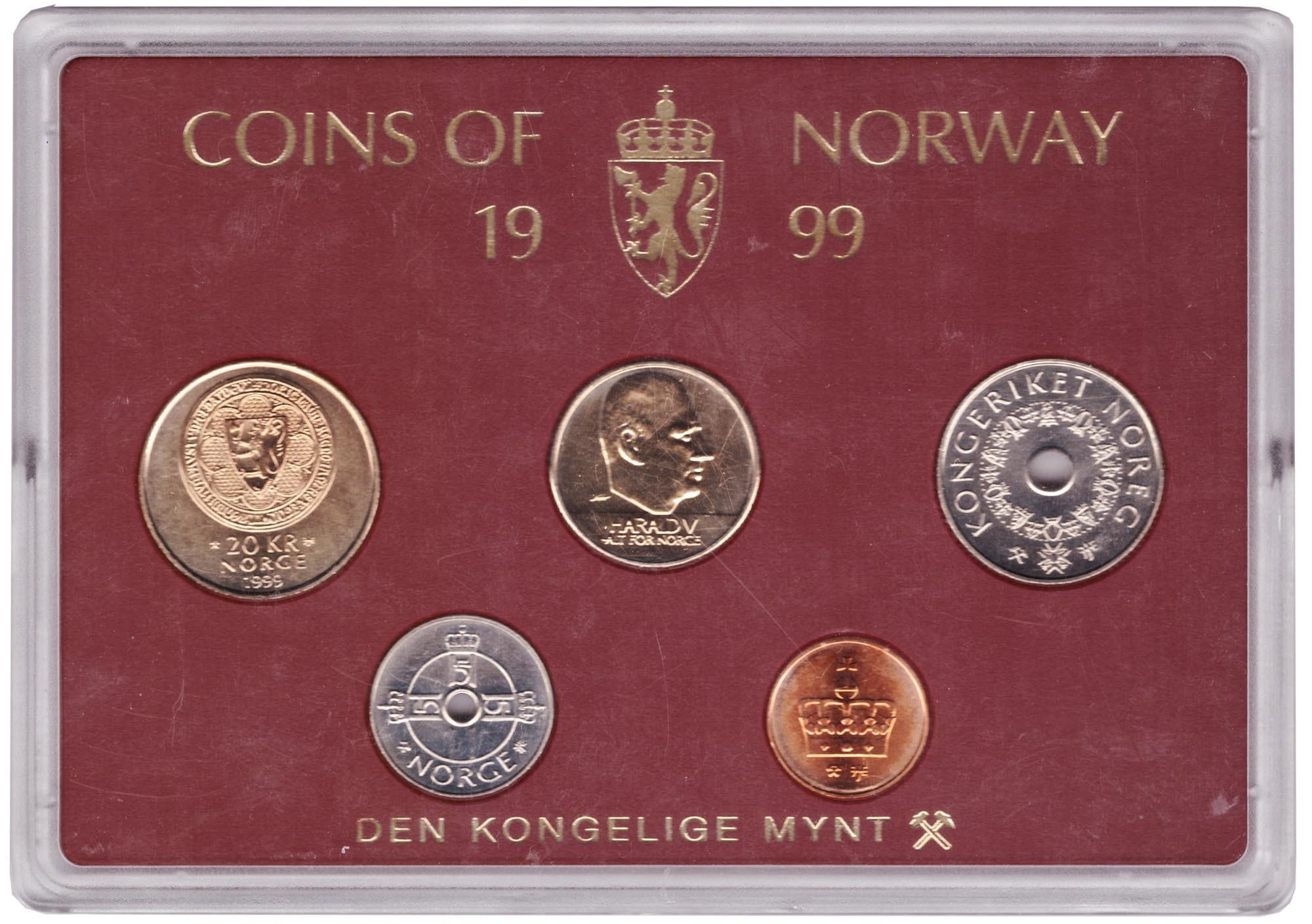 Набор монет Норвегии 1999 UNC в пластиковой упаковке
