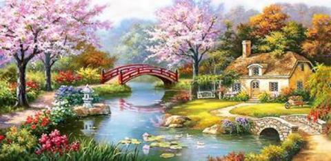 Картина раскраска по номерам 40x50 мостик через реку к домику