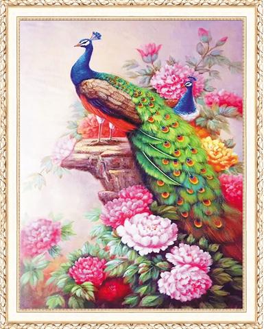 Алмазная Мозаика 40x50 Павлины и розовые пионы (арт. HWA3016 )