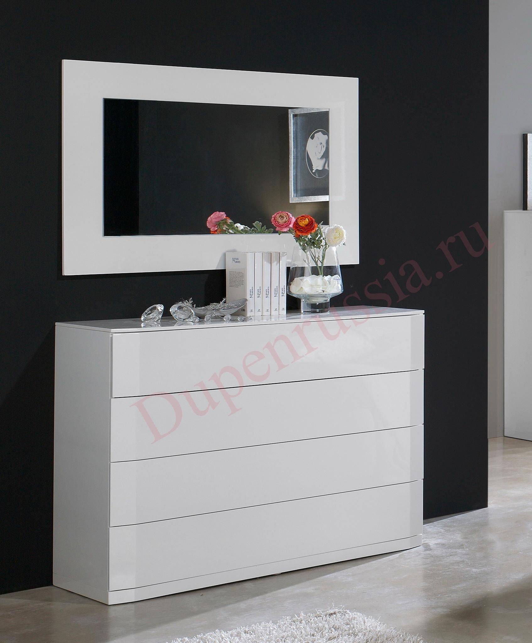 Зеркало DUPEN E-96 белое, Комод горизонтальный DUPEN С-102 белый