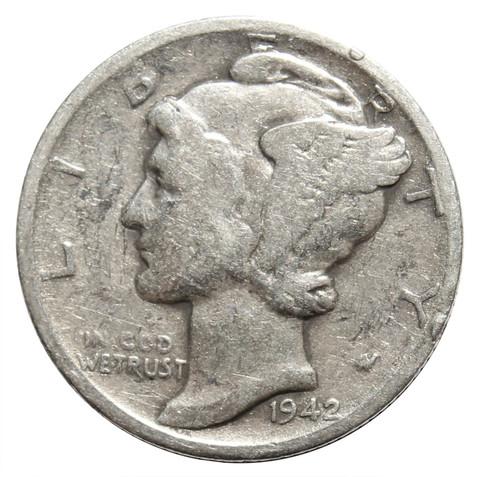 1 дайм (10 центов) 1942. США F-VF (Меркурий) Серебро