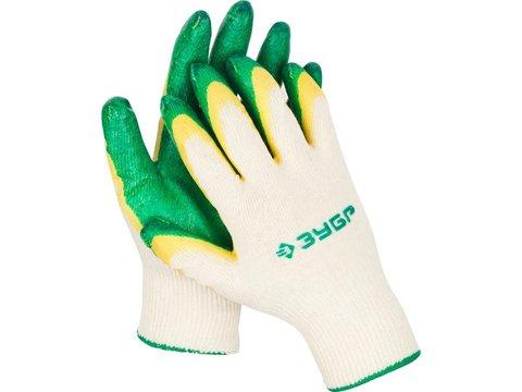 ЗУБР х2 ЗАЩИТА, размер S-M, перчатки с двойным латексным обливом