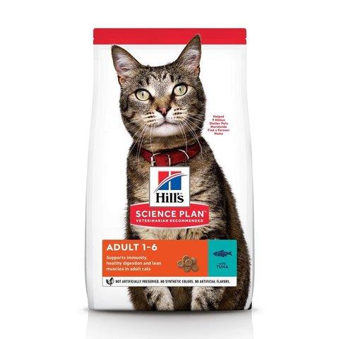 Сухой корм Hill's Science Plan для взрослых кошек для поддержания жизненной энергии и иммунитета, с тунцом