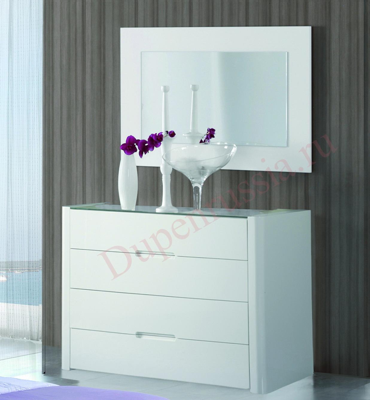 Зеркало DUPEN E-96 белое, Комод горизонтальный DUPEN С-110 белый
