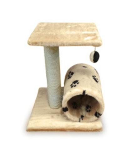 Когтеточка - Домик цилиндр с площадкой и игрушкой