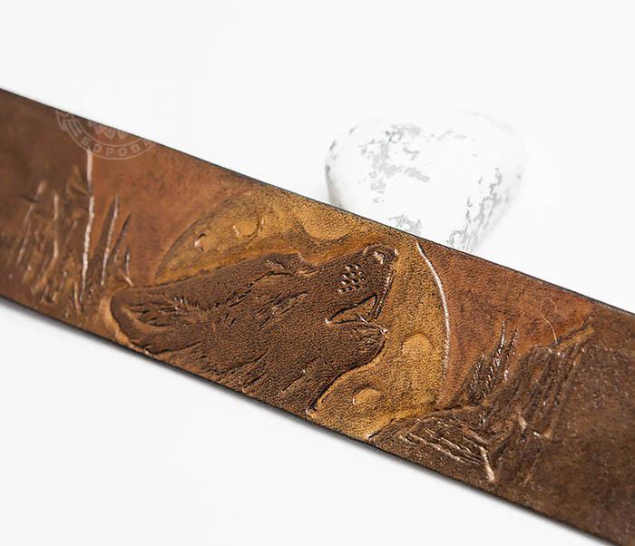 BL460 Мужской браслет «Волк» из натуральной кожи, ручная работа фото 03