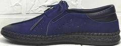 Модные туфли мокасины кожаные мужские casual premium Luciano Bellini 91268-S-321 Black Blue.