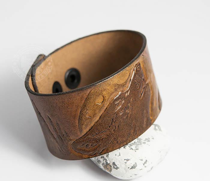 BL460 Мужской браслет «Волк» из натуральной кожи, ручная работа фото 04