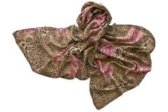 Палантин коричнево-розовый с принтом 1277
