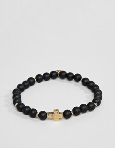 Черный браслет из бусин с золотистым крестом Icon Brand