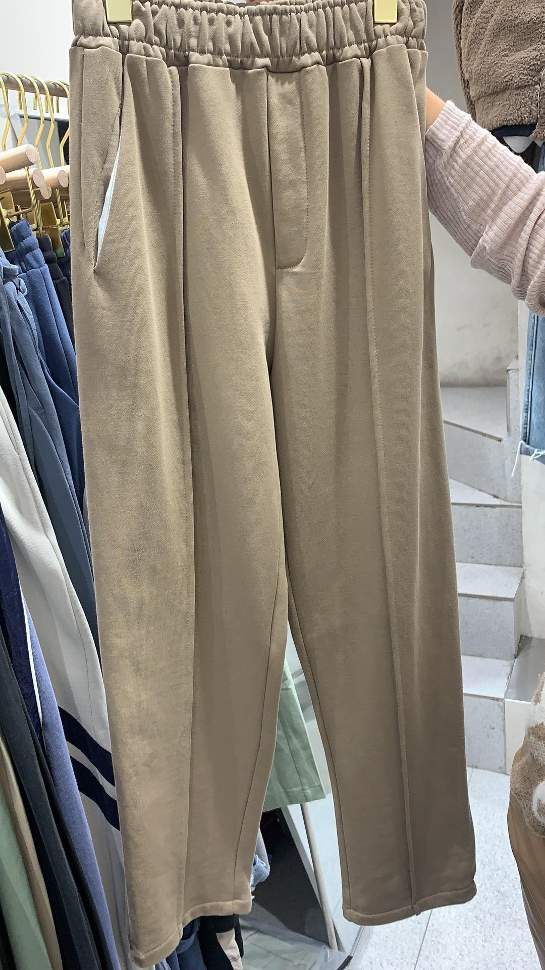 Утепленные хлопковые брюки со стрелками, бежевый