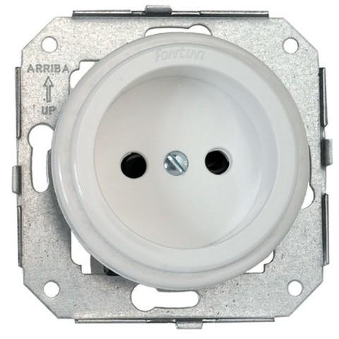 Розетка электрическая 2К без заземления 16 A, 250 В~. Цвет Белый. Fontini Garby Colonial(Фонтини Гарби Колониал). 31209052