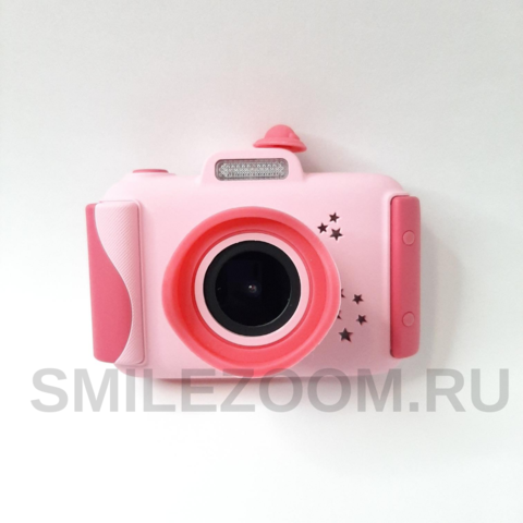Фотоаппарат детский со вспышкой SmileZoom Широкоугольный 24 Мп / Розовый