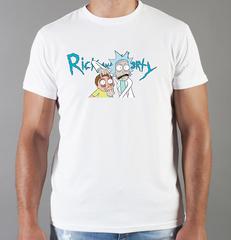 Футболка с принтом мультфильма Рик и Морти (Rick and Morty) белая 002