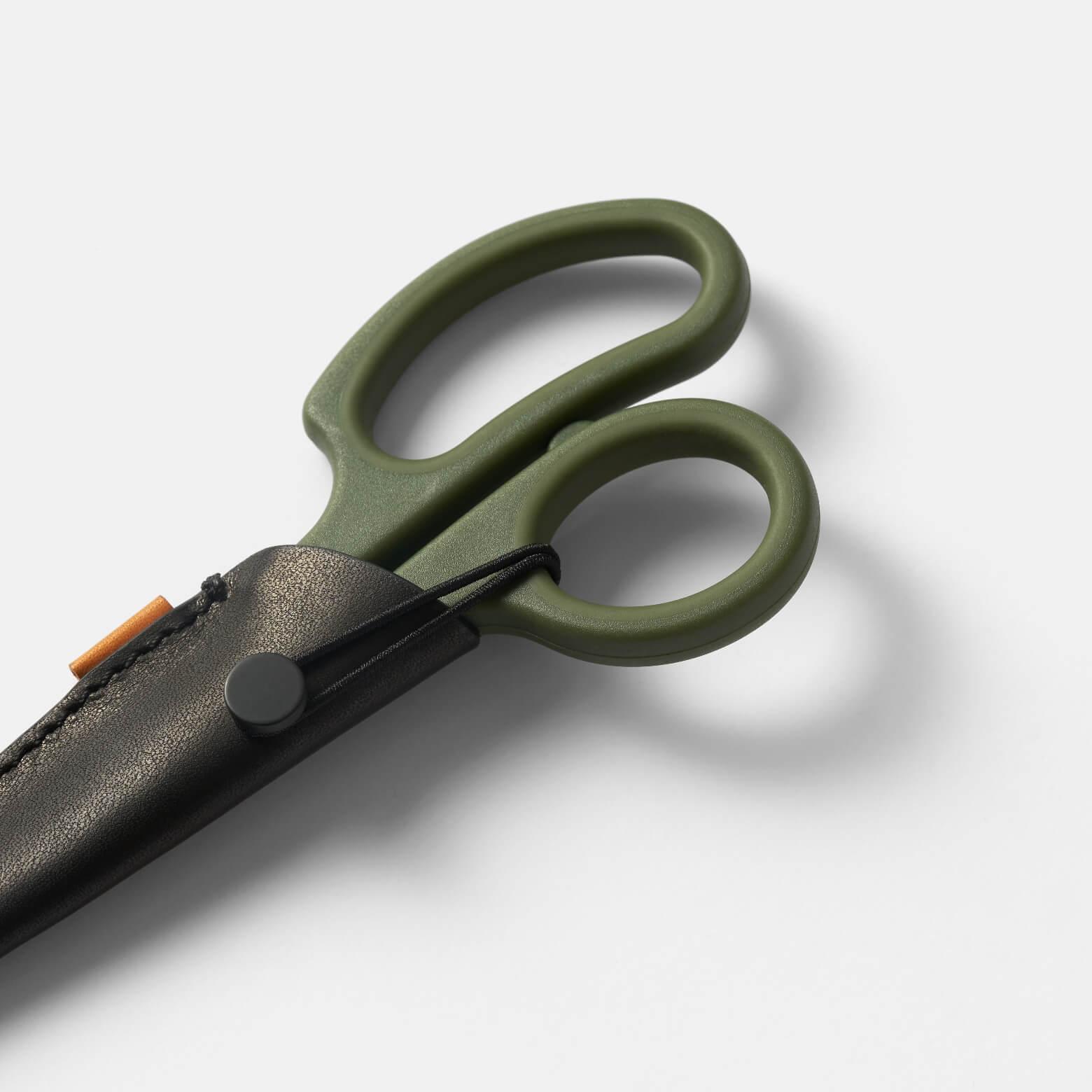 Exacto Scissors — портативные ножницы в чехле: зелёный