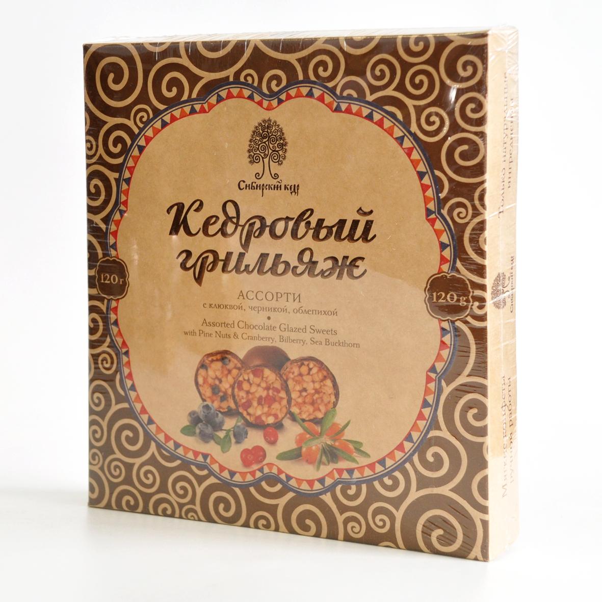 Конфеты Грильяж кедровый ассорти в шоколадной глазури 120г