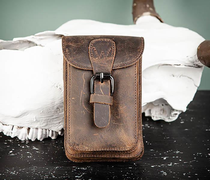 BAG498-2 Мужская кожаная сумка на пояс коричневого цвета
