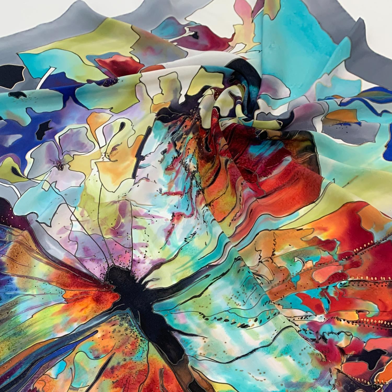 Шёлковый платок батик Бабочка С-74