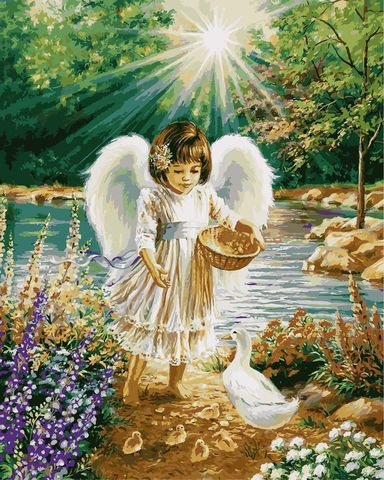 Алмазная Мозаика 40x50 Ангелок кормит птиц (арт. MGL3339 )
