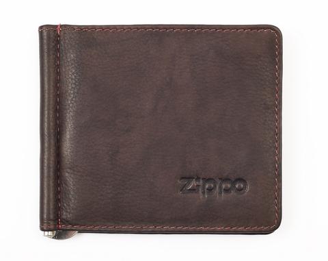 Зажим для денег Zippo, коричневый, натуральная кожа, 10,5×1×9 см