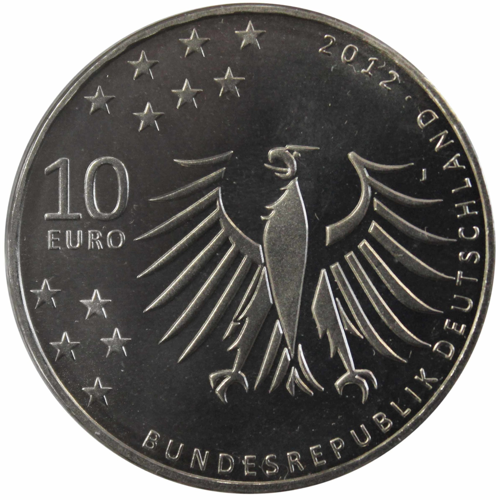 10 евро. 150 лет со дня рождения Герхарда Хауптмана. Германия. 2012 год. Медноникель