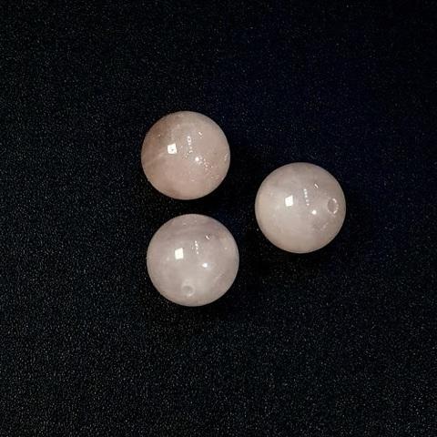 Бусина полупросверленная кварц розовый шар гладкий 12 мм 1 шт