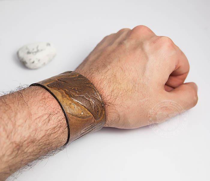BL460 Мужской браслет «Волк» из натуральной кожи, ручная работа фото 06