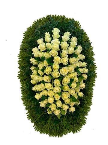 Траурный венок из живых цветов ВЖ 16 -180 см