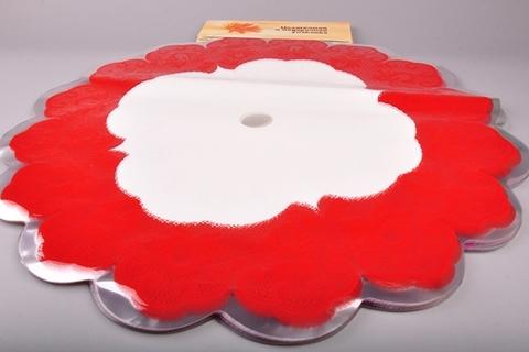 Салфетка ажурная круг d60 см цвет: красная